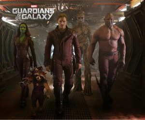 """Gamora (Zoe Saldana), left, Rocket Racoon (voiced by Bradley Cooper), Peter Quill/Star-Lord (Chris Pratt), Groot (voiced by Vin Diesel) and Drax the Destroyer (Dave Bautista) in a scene from the motion picture """"Guardians of the Galaxy."""""""
